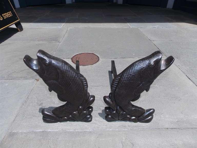 Pair of american cast iron aquatic fish andirons circa for L fish furniture