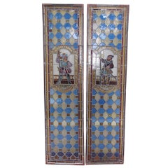 Pair of English Stained Glass Royalty Guard Panels, Circa 1840