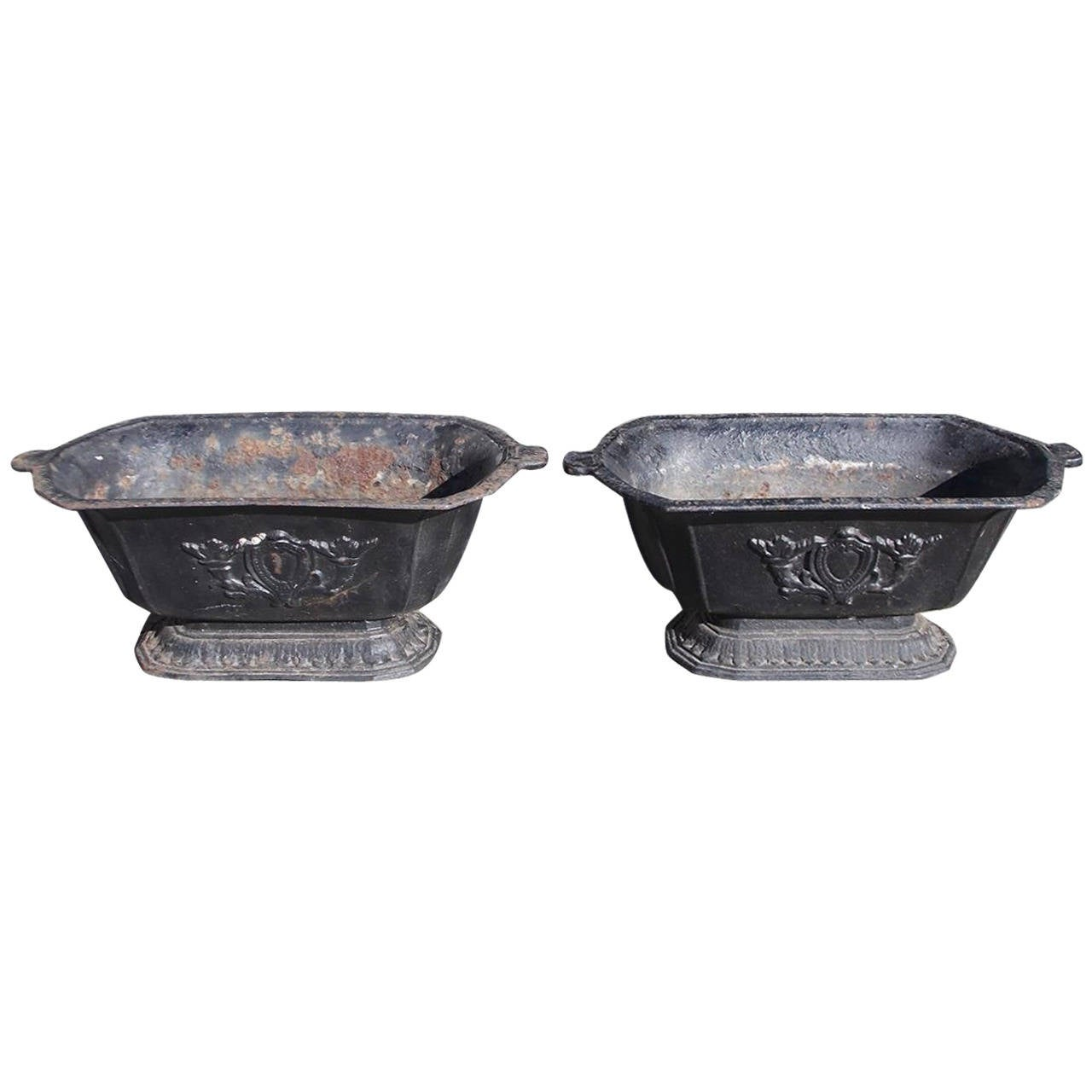 Pair of American Cast Iron Floral Planters, Circa 1870 For Sale