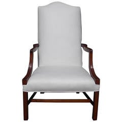American Mahogany Serpentine Back Martha Washington Armchair, Circa 1790