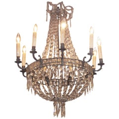 English Regency Bronze and Crystal Chandelier, Circa 1815