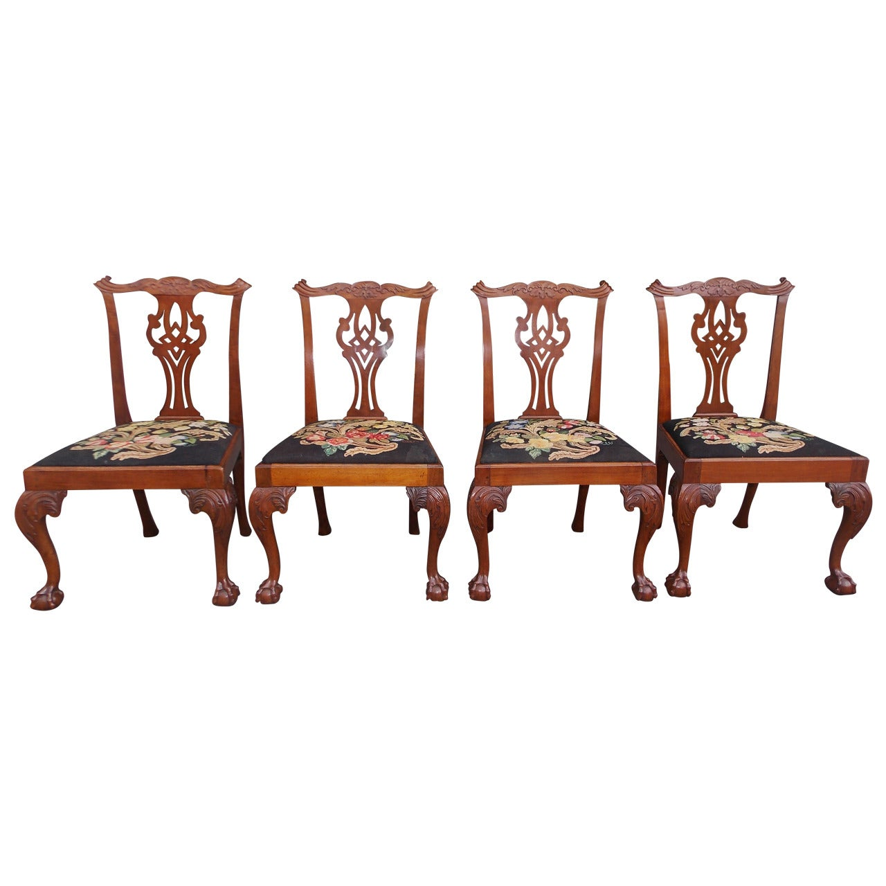 Set of Four English Chippendale Walnut Side Chairs, Circa 1770