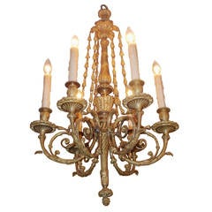French Gilt Bronze Decorative Floral Chandelier, Circa 1820