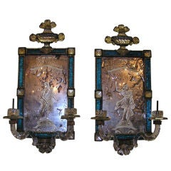 Pair of Venetian Cobalt Blue & Figural Etched Wall Sconces. Circa 1700