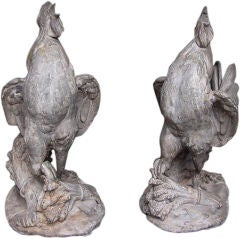 Pair of French Lead Roosters