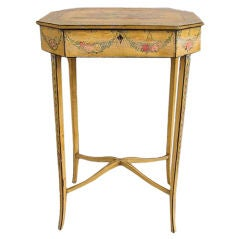 French Painted & Carved Floral Dressing Table,  Circa 1790