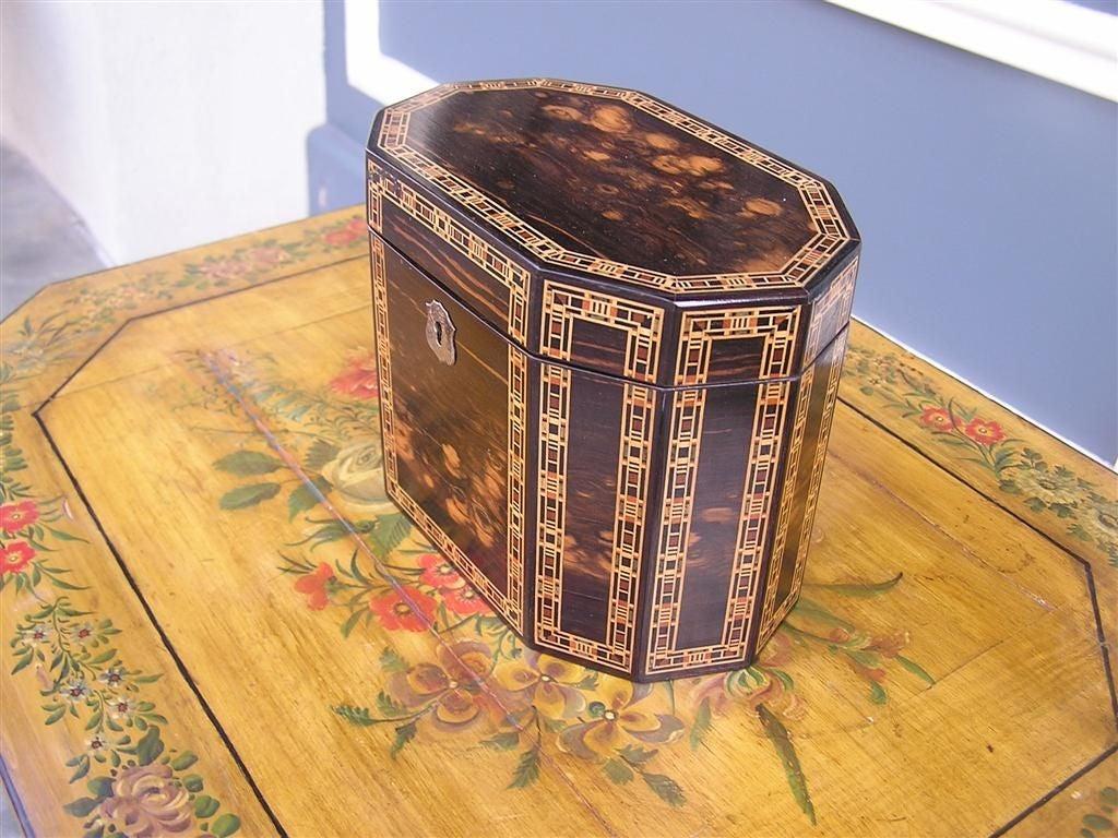 George III English Coromandel Lined Tea Caddy. Circa 1800 For Sale