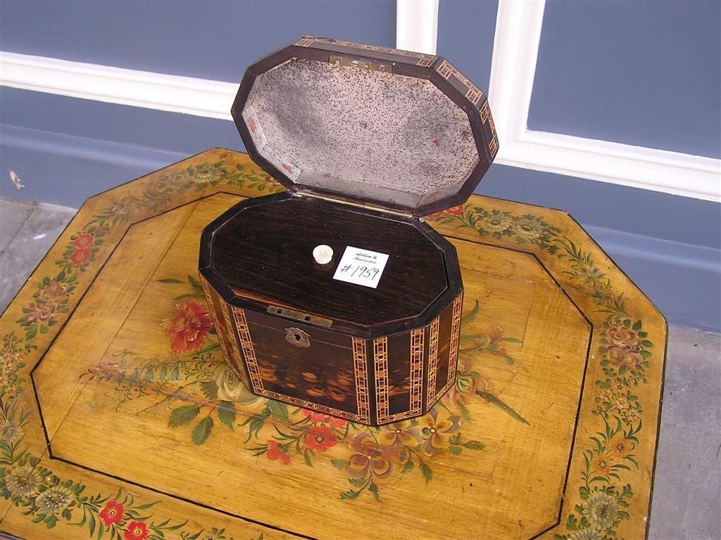 Satinwood English Coromandel Lined Tea Caddy. Circa 1800 For Sale