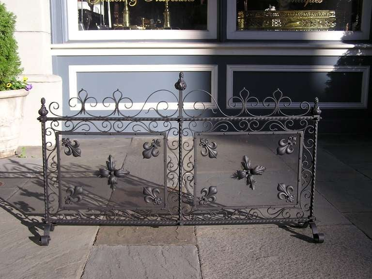 French Wrought Iron Free Standing Two Panel Screen For