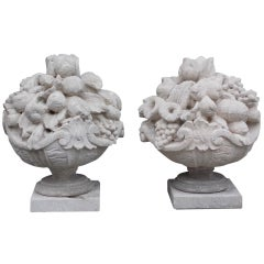 Pair of Italian Carved Sandstone Fruit Baskets
