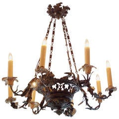 French Lead Hand Painted Floral Chandelier