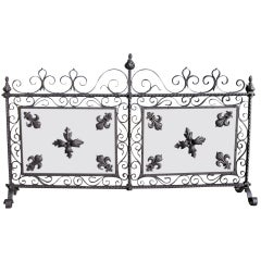French Wrought Iron Free Standing Two Panel Screen