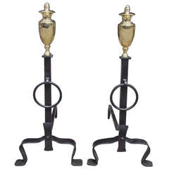 Pair of American Wrought Iron and Brass Andirons. Circa 1800