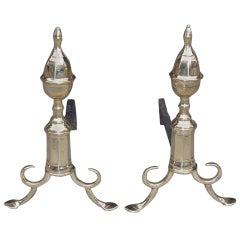 Pair of American Brass Acorn Andirons. Philadelphia,  Circa 1800
