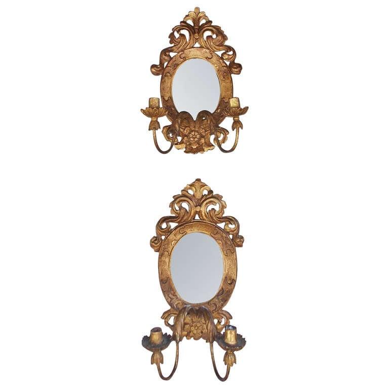 Pair of Italian Gilt Girandole Mirror Sconces.  Circa 1810