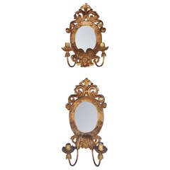 Pair of Italian Gilt Girandole Mirror Sconces.  Circa 1810