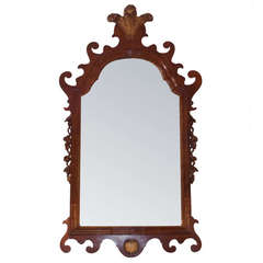 English Chippendale Mahogany Gilt Prince of Wales Wall Mirror.  Circa 1770