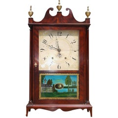 American Mahogany Pillar and Scroll Mantel Clock by Eli Terry, Circa 1820