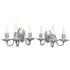 Pair of American Silver Plated Three Arm Sconces.  Circa 1870