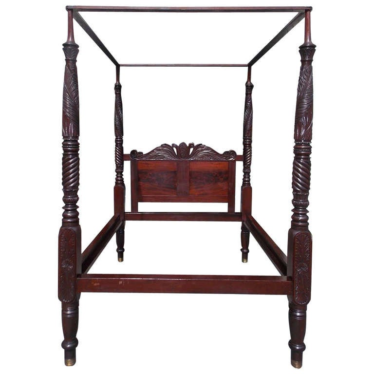 Caribbean Cuban Mahogany Four Poster Bed. Circa 1825 at ...