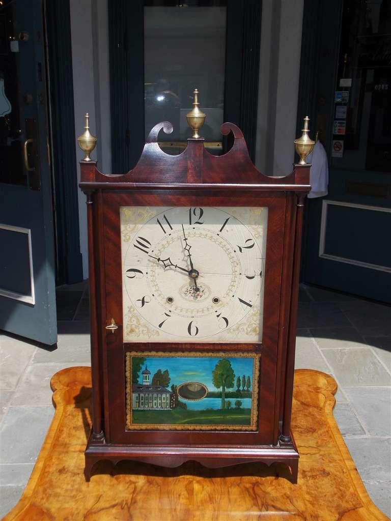 American Mahogany Pillar And Scroll Mantel Clock By Eli