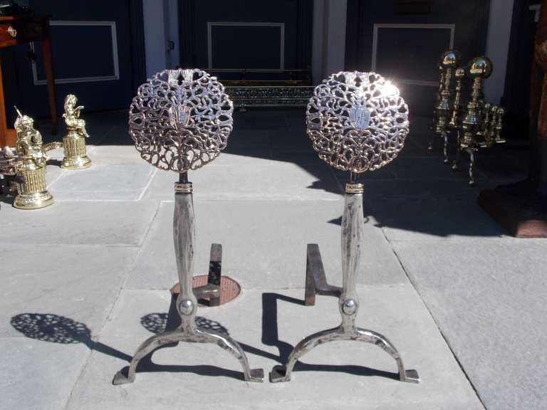 Pair of American Nickel silver, polished steel, and bronze tulip medallion andirons with dog legs and stylized penny feet.  19th Century