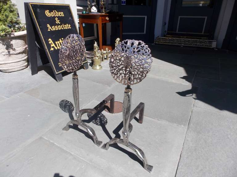 Pair of American Nickel Silver and Bronze Medallion Andirons. 19th Century For Sale 2