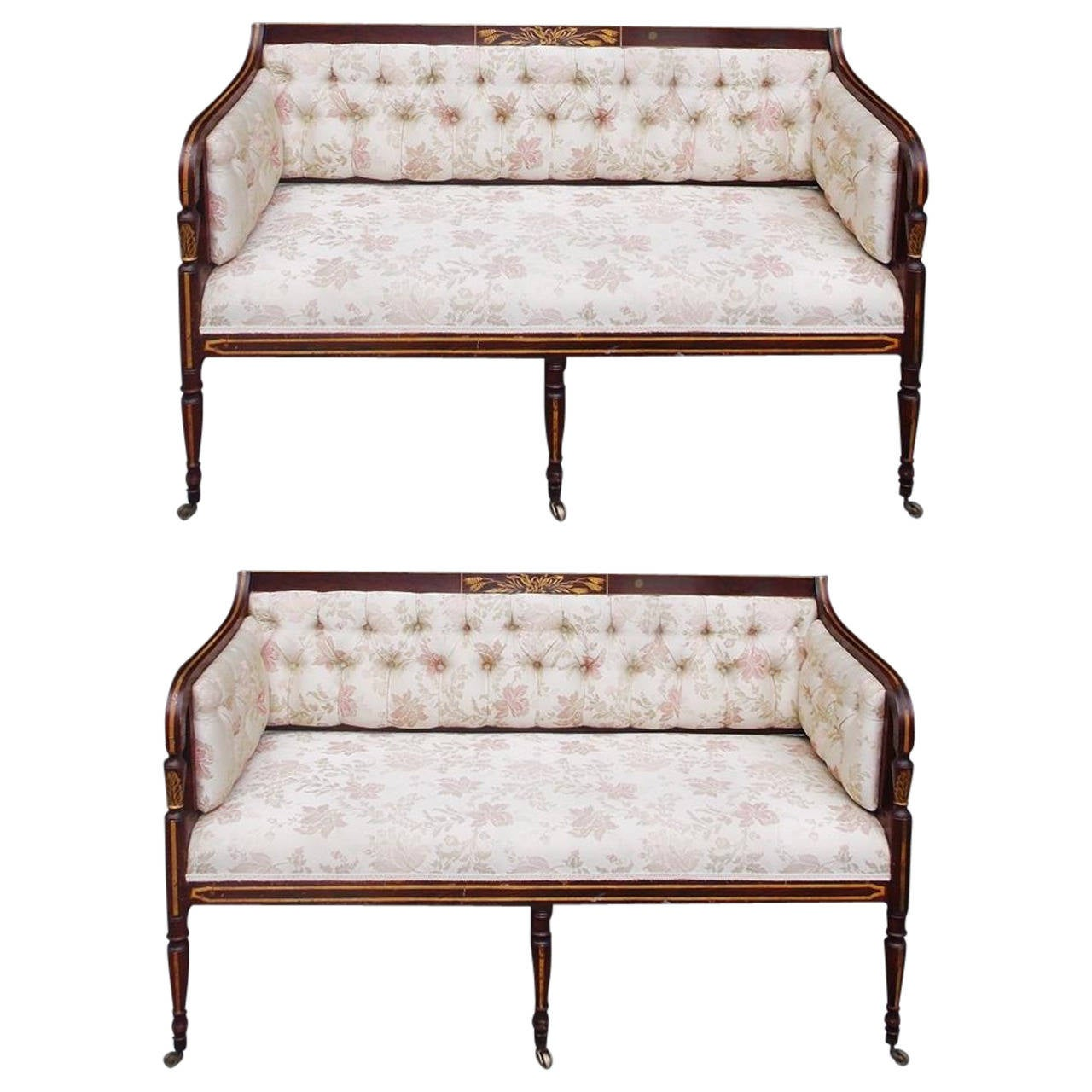 Pair of English Regency Stenciled and Gilt Settees, Circa 1780