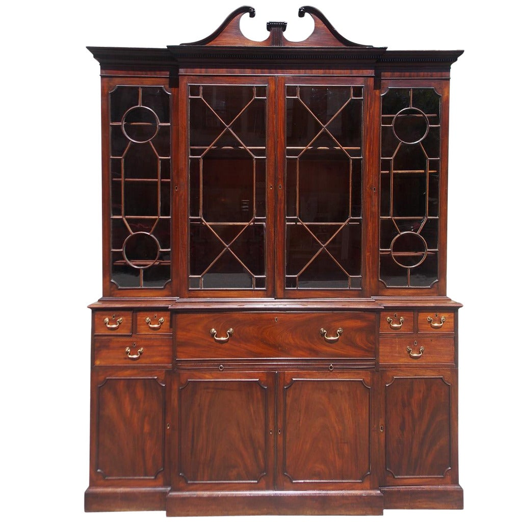 English Chippendale Mahogany Breakfront with Secretary, Circa 1770
