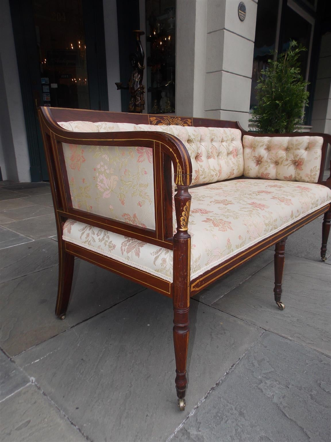 Late 18th Century English Regency Stenciled and Gilt Settee, Circa 1780 For Sale