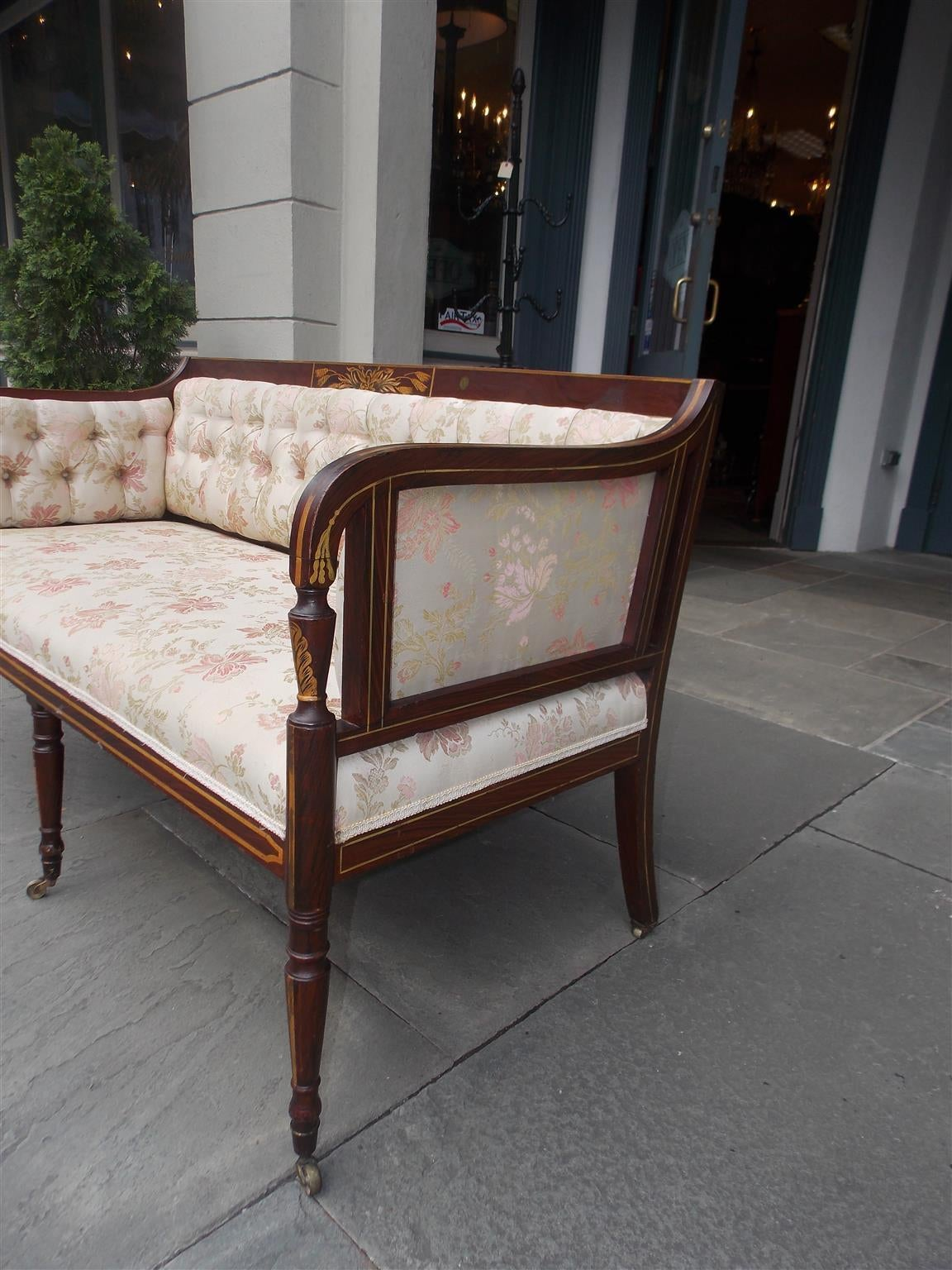 Brass English Regency Stenciled and Gilt Settee, Circa 1780 For Sale