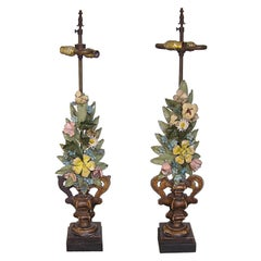Pair of Italian Gilt Carved & Tole Pricket Lamps. Circa 1840