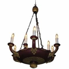 French Painted and Gilt Carved Wood Chandelier. Circa 1820