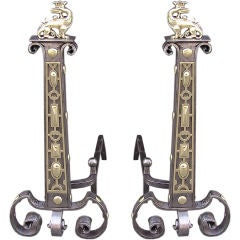 Pair of English Polished Steel & Brass Flanking Dragon Andirons, Circa 1830