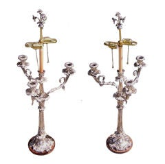 Pair of English Sheffield Monumental Hand Chased Floral Candelabras. Circa 1780