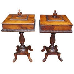 Pair of English Mahogany Lambs Tongue Humidors , Circa 1790