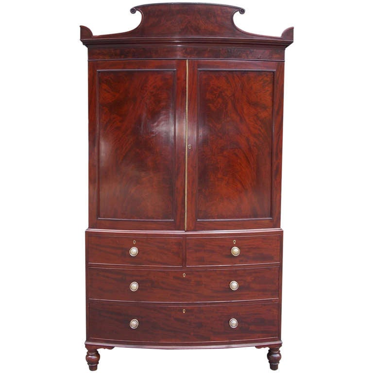 English regency mahogany bow front linen press at 1stdibs for Linen press