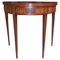 American Hepplewhite Mahogany Demilune Inlaid Game Table, NJ, Circa 1790