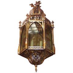 English Brass Royalty Hanging Hall Lantern, Circa 1820