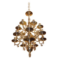 Dutch Colonial Two-Tier Brass Floral Chandelier, Circa 1760