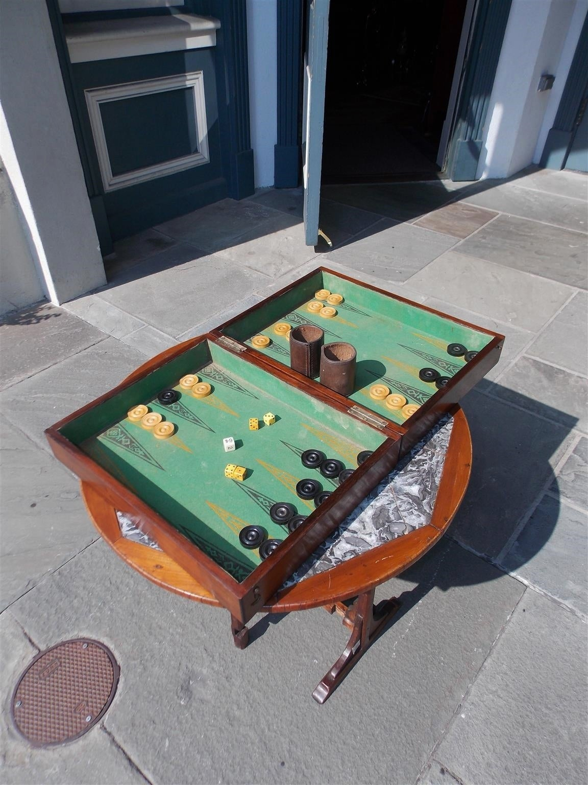 Complete English Zebra Wood Backgammon Game Box, Circa 1830 For Sale 1
