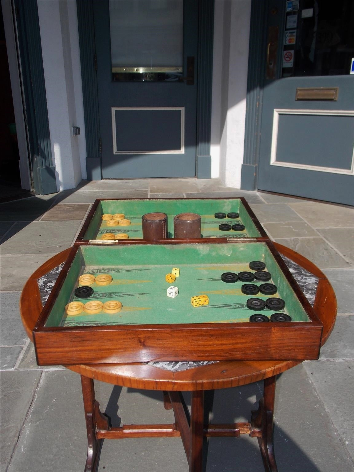 Mid-19th Century Complete English Zebra Wood Backgammon Game Box, Circa 1830 For Sale