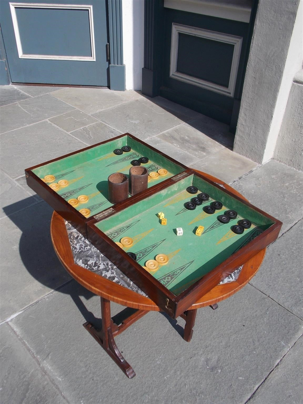 Complete English Zebra Wood Backgammon Game Box, Circa 1830 In Excellent Condition For Sale In Charleston, SC