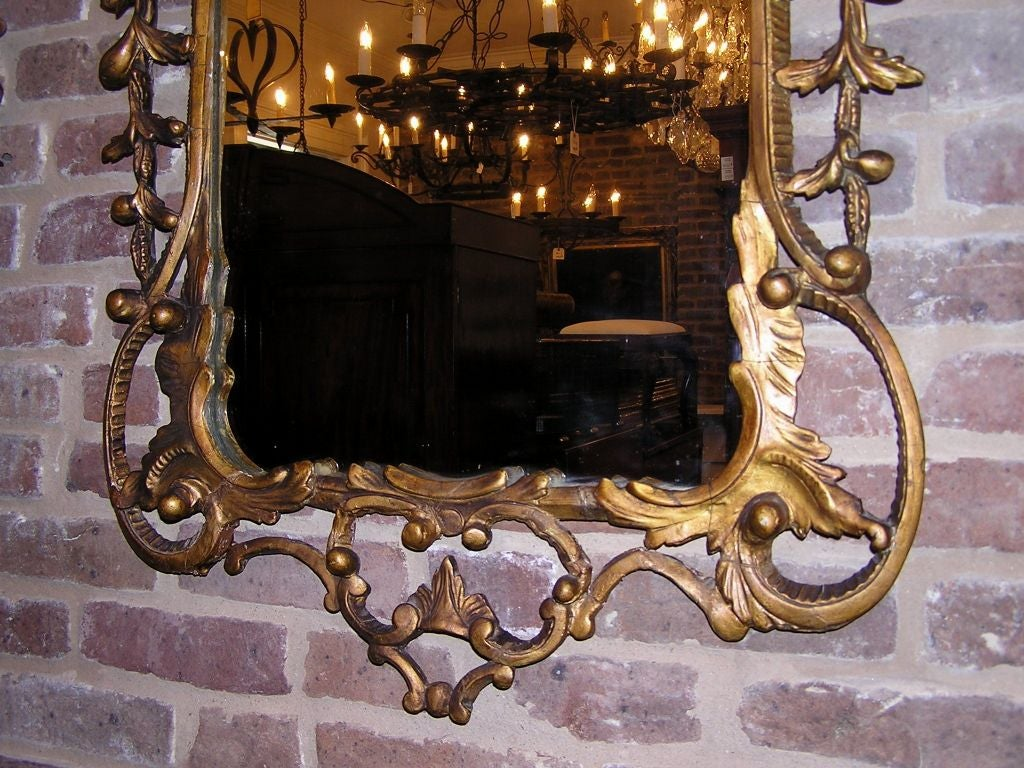 Pair of Italian Gilt Carved Floral Wall Mirrors. Circa 1780 For Sale 4