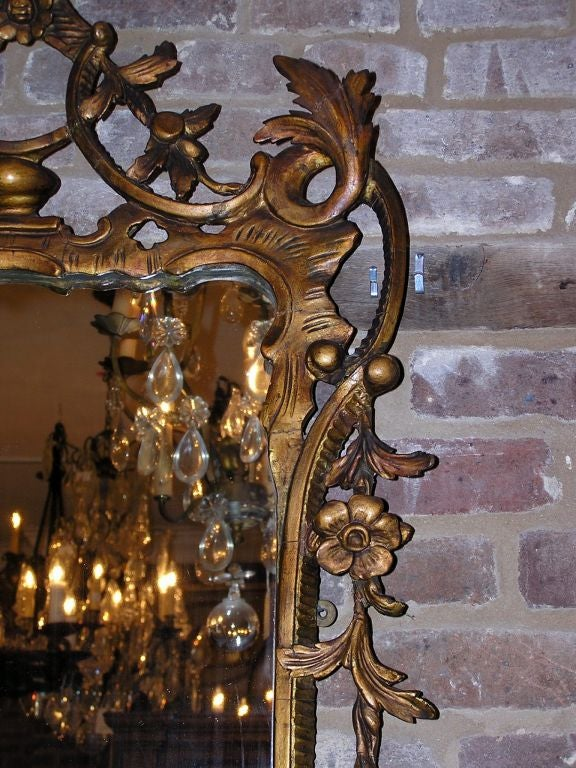 Late 18th Century Pair of Italian Gilt Carved Floral Wall Mirrors. Circa 1780 For Sale