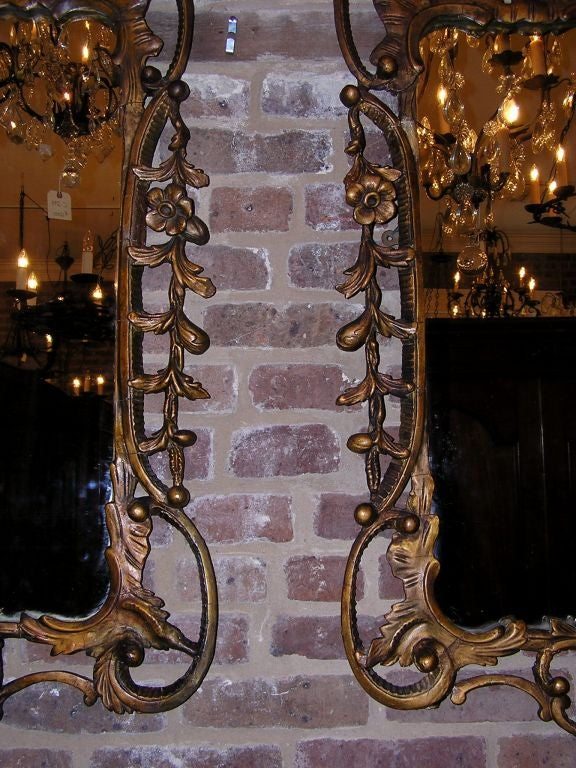 Pair of Italian Gilt Carved Floral Wall Mirrors. Circa 1780 For Sale 1
