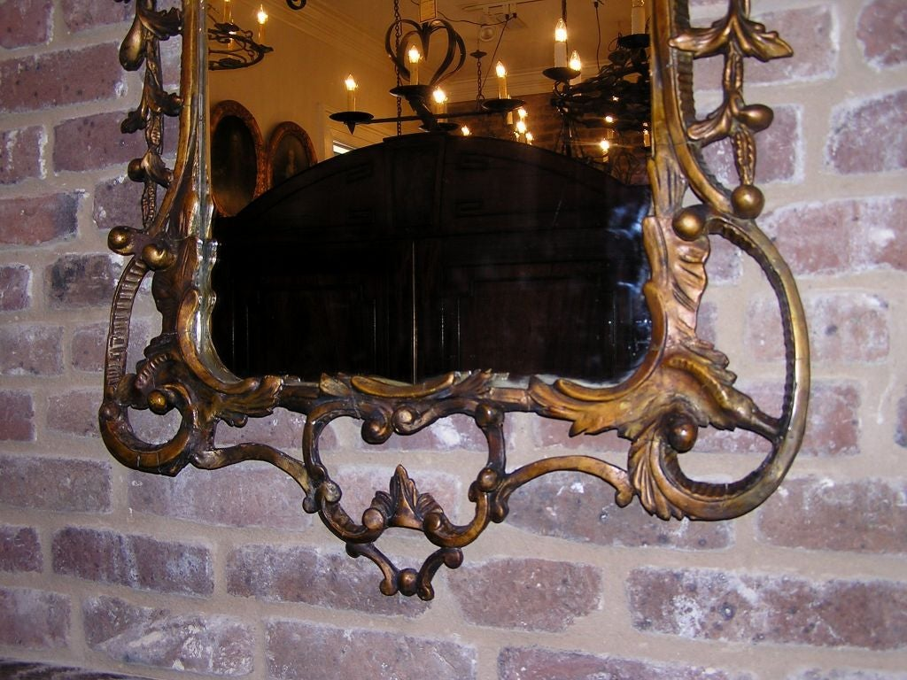Pair of Italian Gilt Carved Floral Wall Mirrors. Circa 1780 For Sale 3