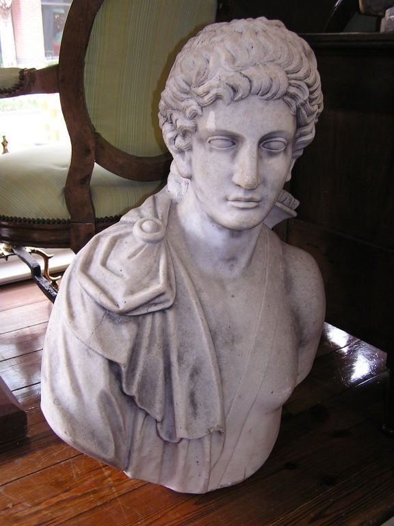 Classical Roman Italian Carved Marble Bust of Eros . Circa 1820 For Sale