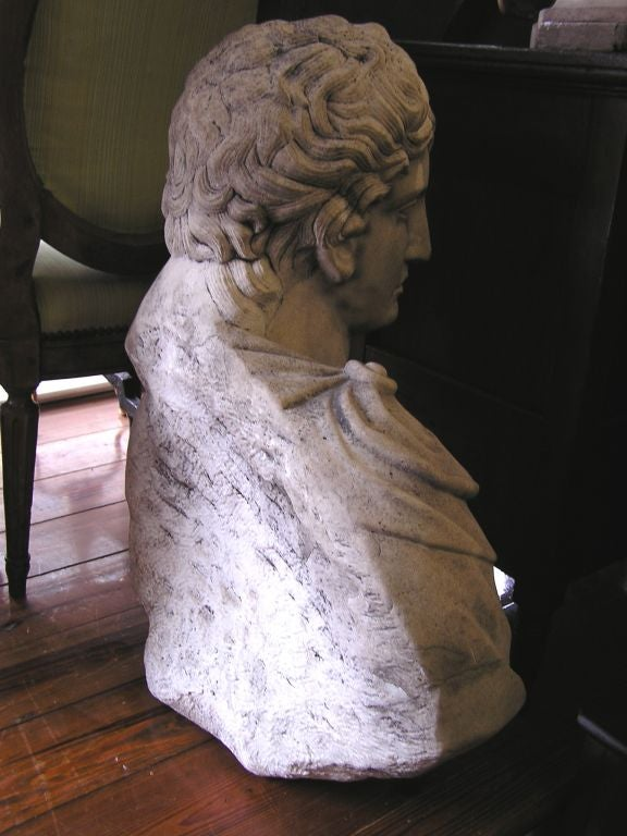 Hand-Carved Italian Carved Marble Bust of Eros . Circa 1820 For Sale