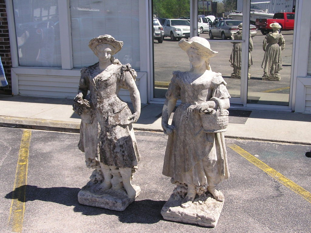 George III Pair of English Hand Carved Sandstone Figural Garden Statues , Circa 1780 For Sale
